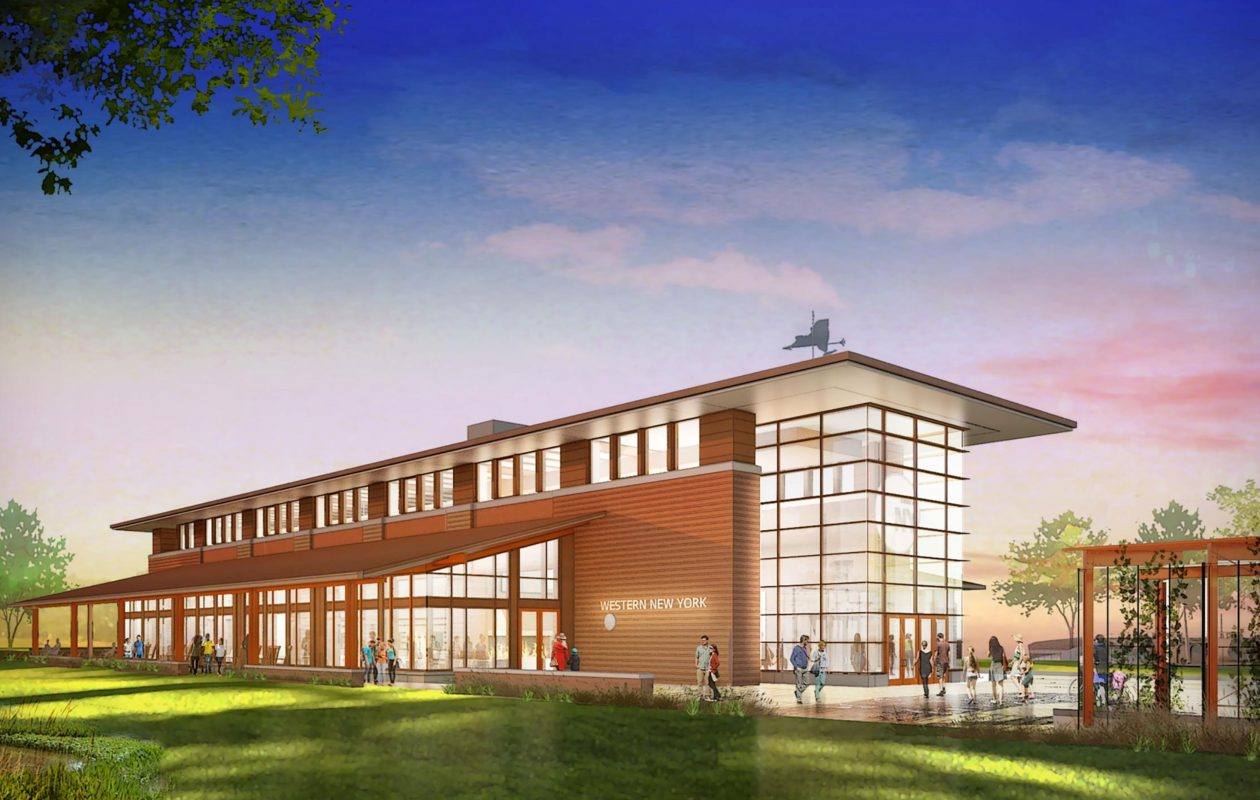 A rendering of the proposed Western New York Welcome Center, which New York State is building off of Interstate 190 on Grand Island. The $20 million center is expected to open in August, 2018. (Provided image)