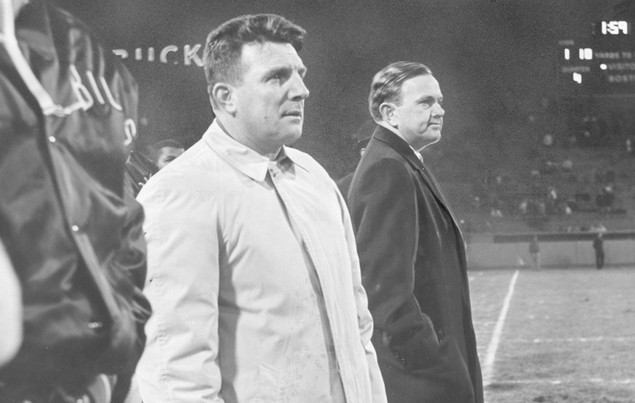 Shortly after the Bills' loss to the Boston Patriots, Ralph Wilson, right, hired former Patriots' coach Lou Saban as director of player personnel. (Buffalo News file photo, circa 1965)