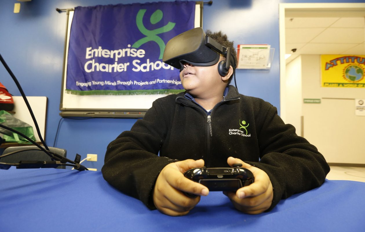 Charter schools are an invaluable addition to education in Buffalo. Nykari Walker, a seventh-grader at Enterprise Charter School, used virtual reality tools earlier this year to experience what it was like to be an astronaut in the 1960s. (Robert Kirkham/Buffalo News file photo)