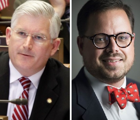 The issue of abortion rights has surfaced in the Erie County Clerk contest between Democrat Steven J. Cichon, right, and  Assemblyman Michael P. Kearns, a Democrat running on the Republican line.