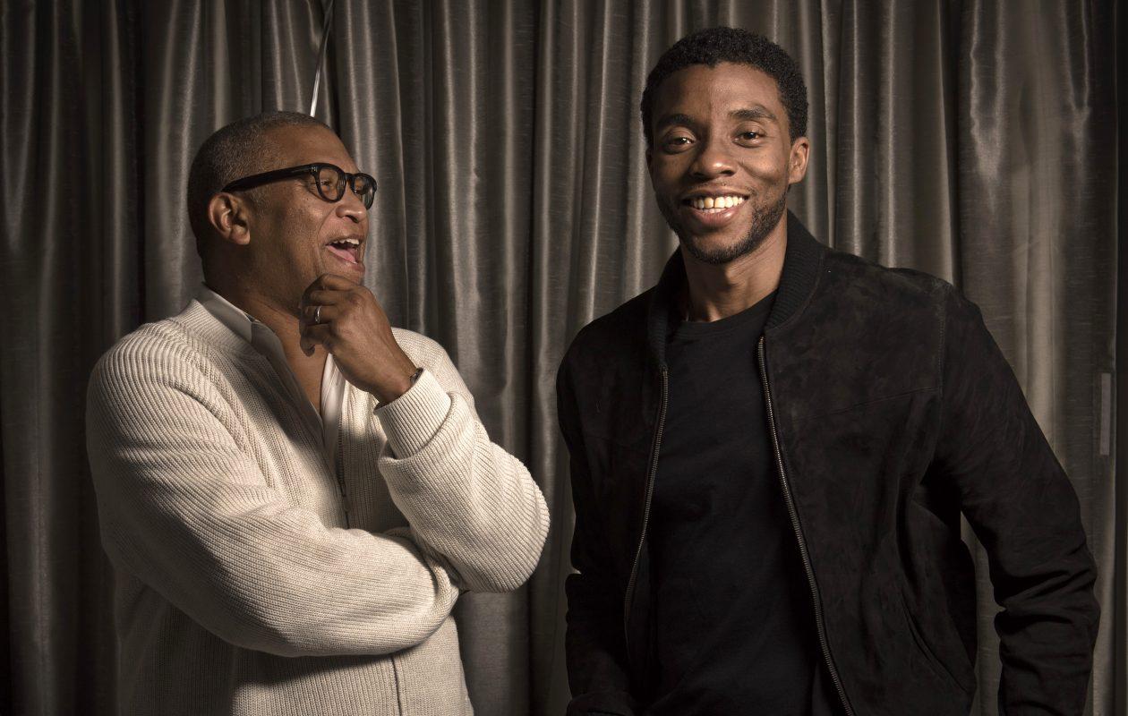 """Marshall"" director Reginald Hudlin, left, and star Chadwick Boseman. (Washington Post photo by Bill O'Leary)"