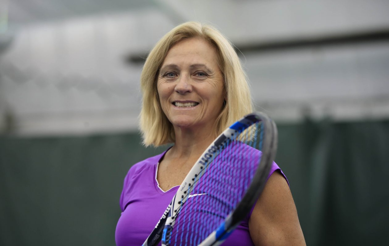 Maureen Rasp-Glose, pictured at the Village Glen Tennis Club on Thursday, Sept. 28, 2017. (Harry Scull Jr./Buffalo News)