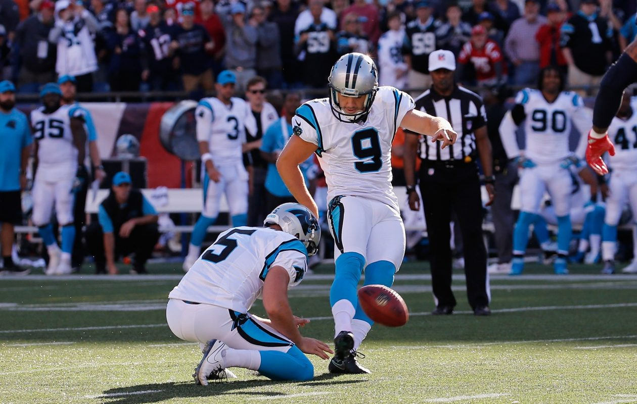 Kicker Graham Gano of the Carolina Panthers kicks a 48-yard field goal during the fourth quarter to defeat the New England Patriots 33-30 at Gillette Stadium on Oct. 1, 2017, in Foxboro, Mass. (Jim Rogash/Getty Images)