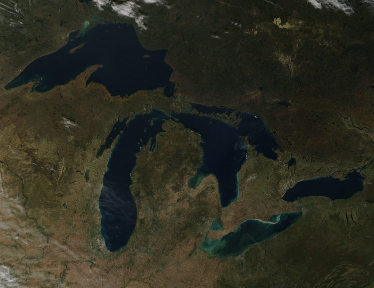 This image of fall colors sweeping across the Great Lakes was captured from space Oct. 20. (Image Credit: Jeff Schmaltz, MODIS Land Rapid Response Team, NASA GSFC)
