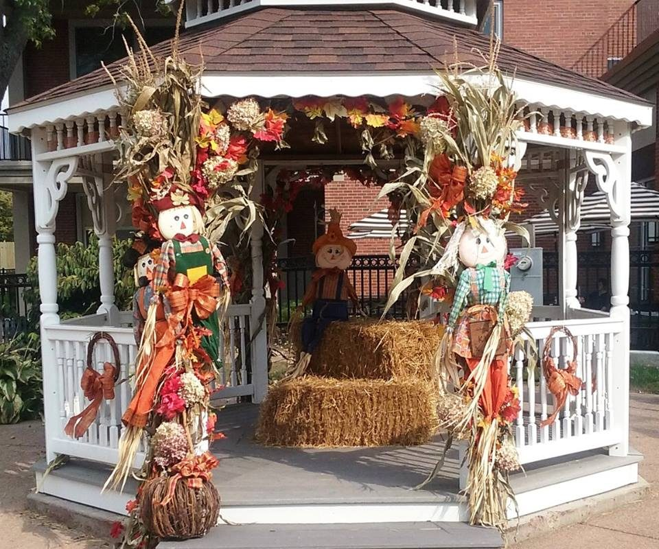 The Delaware Avenue Village Green gazebo in Kenmore is decorated for autumn, prior to the holiday decorating season