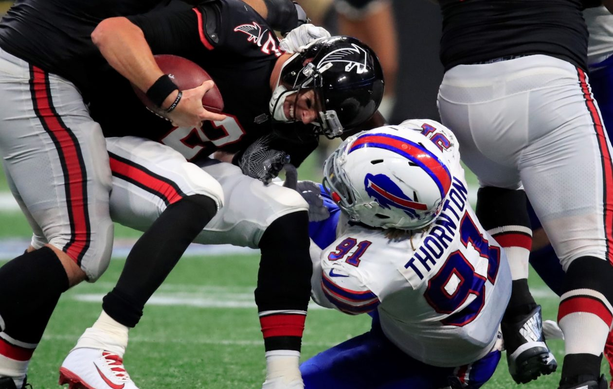 Cedric Thornton sacks Falcons quarterback Matt Ryan during the fourth quarter Sunday at Mercedes-Benz Stadium in Atlanta. (Harry Scull Jr./ Buffalo News)