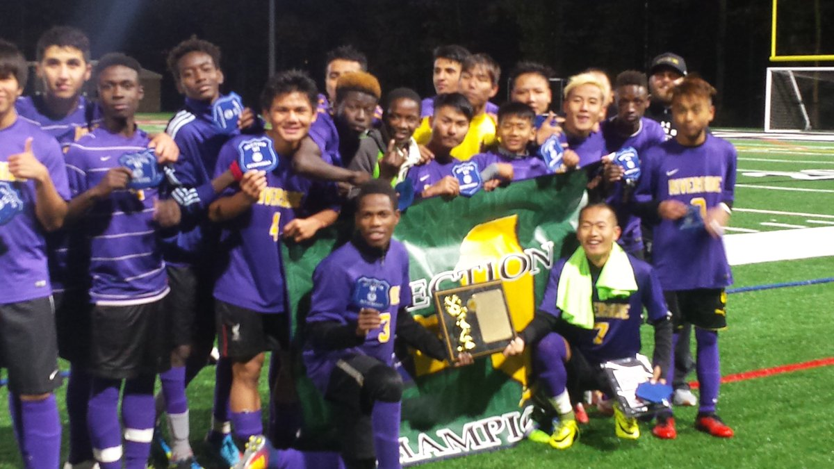Riverside strikes the champion's pose after capturing the Section VI Class B-2 title on Wednesday.