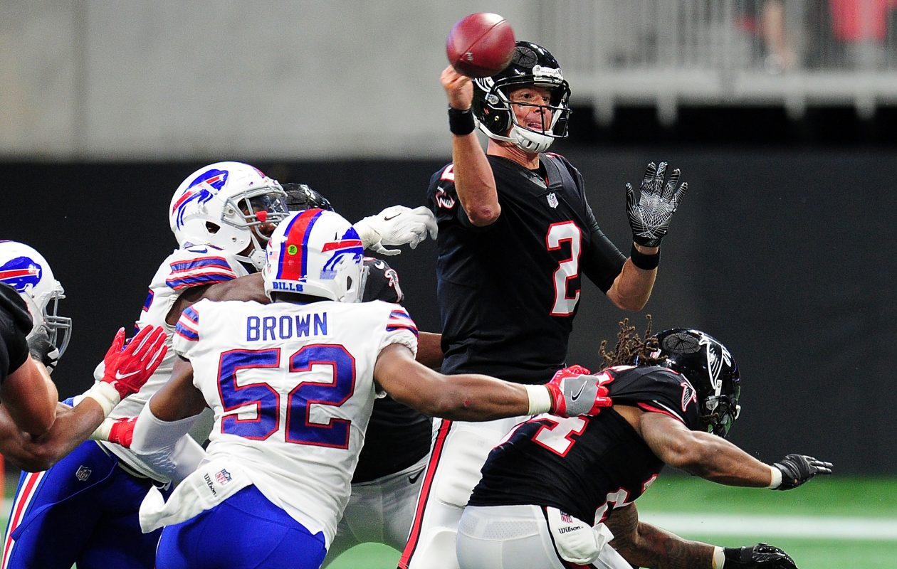 Matt Ryan of the Atlanta Falcons fumbles during the second half against the Buffalo Bills at Mercedes-Benz Stadium. (Getty Images)