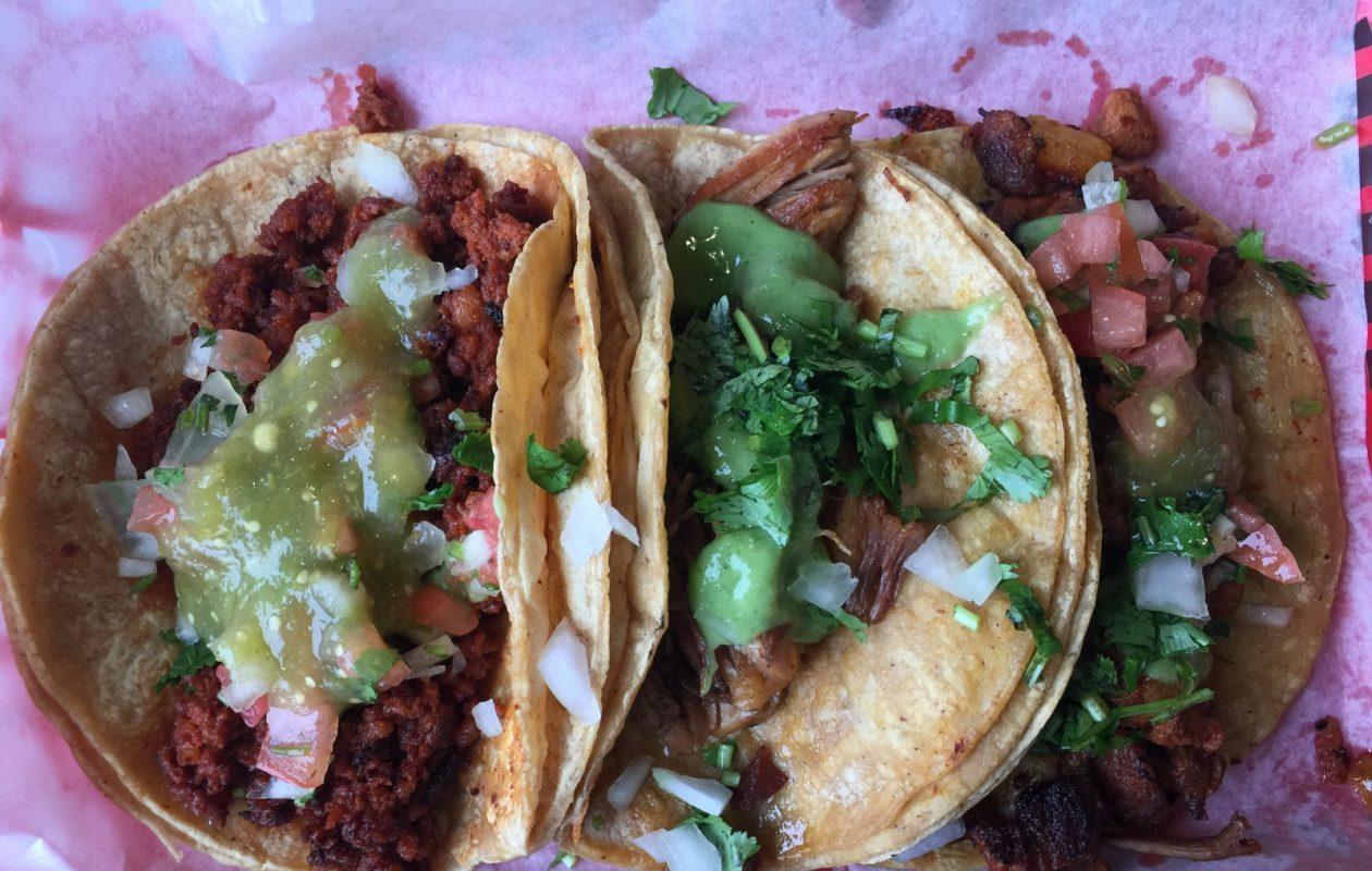 Chorizo, carnitas and al pastor tacos at Taqueria Rancho la Delicias. (Andrew Galarneau/Buffalo News)