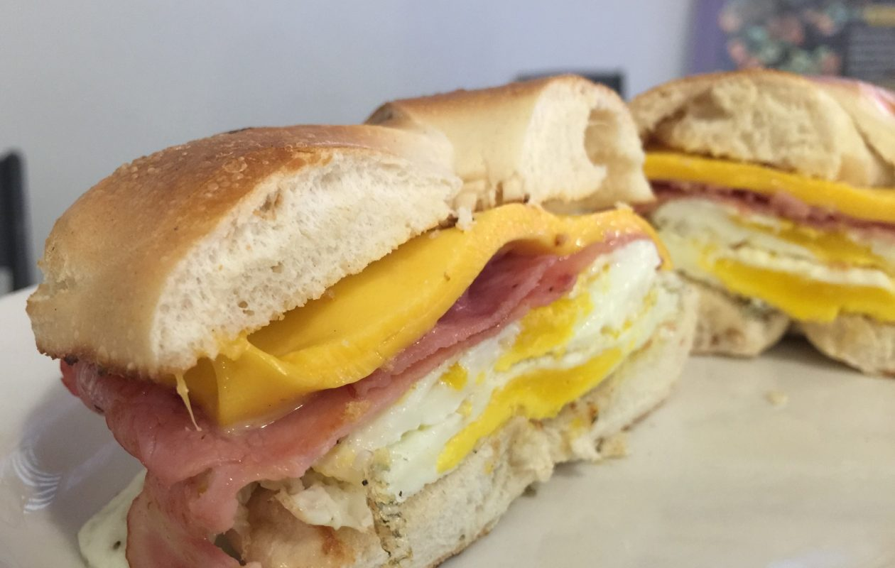 You have until Friday to pop by Washington Market for a breakfast bagel sandwich. (Andrew Galarneau/Buffalo News)