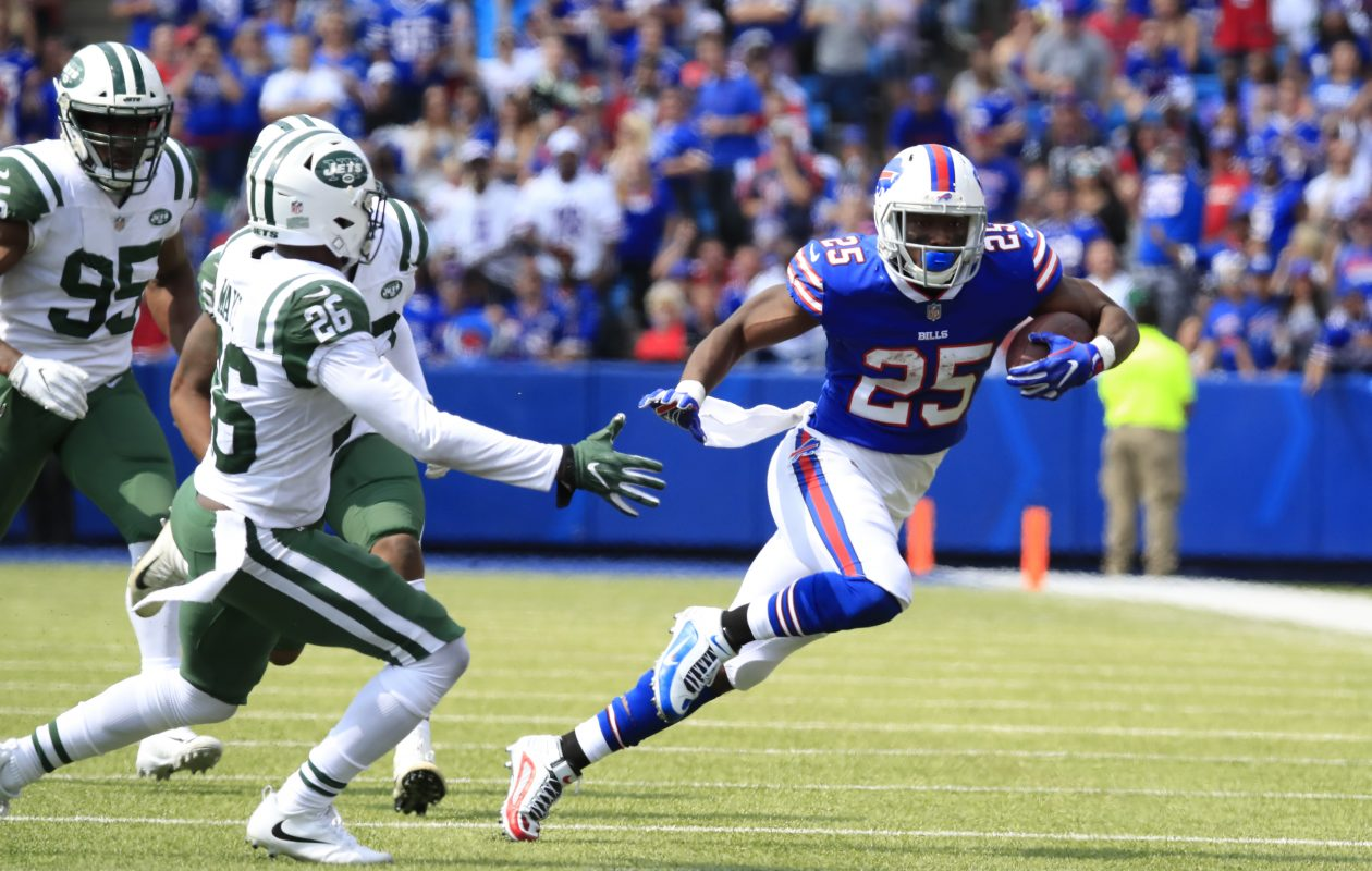 Buffalo Bills LeSean McCoy runs against the New York Jets at New Era Field in Orchard Park on Sunday, Sept. 10, 2017. (Harry Scull Jr./The Buffalo News)