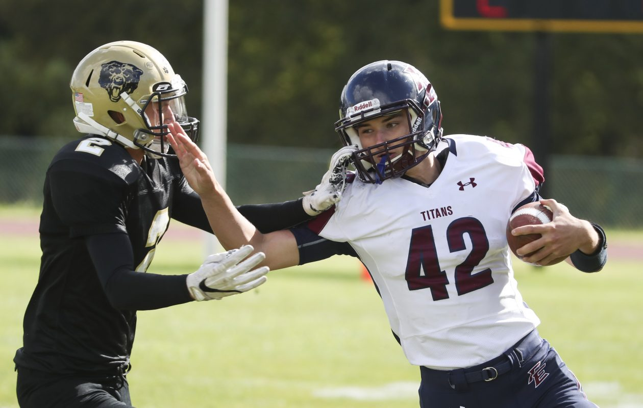 Franklinville/Ellicottville's Brock Blecha (42) is a threat running the ball and passing the ball.  (James P. McCoy / Buffalo News)