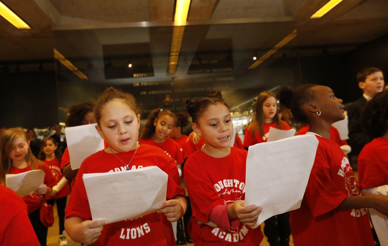 The Houghton Academy third grade chorus performs during the kickoff of the annual News Neediest drive in the lobby of The Buffalo News, Friday, Nov. 17, 2017.  (Derek Gee/Buffalo News)