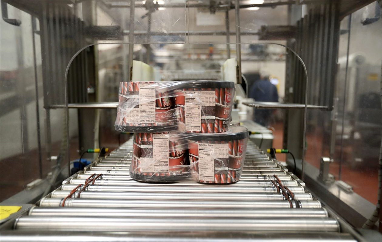 In the final packaging department at Perry's Ice Cream, all five production lines merge before to the ice cream heads into a freezer. (Mark Mulville/Buffalo News)