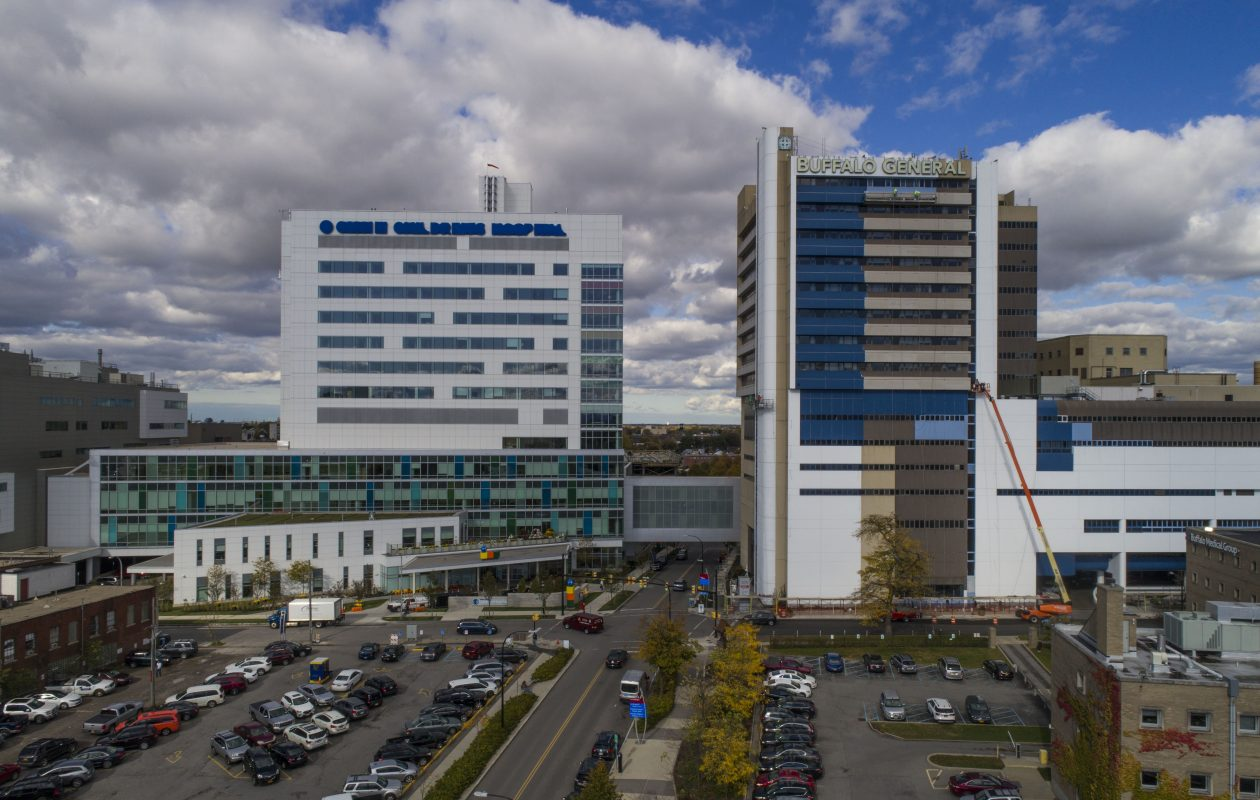 The new Oishei Children's Hospital, left, and Buffalo General Hospital on the Buffalo Niagara Medical Campus. (Derek Gee/News file photo)