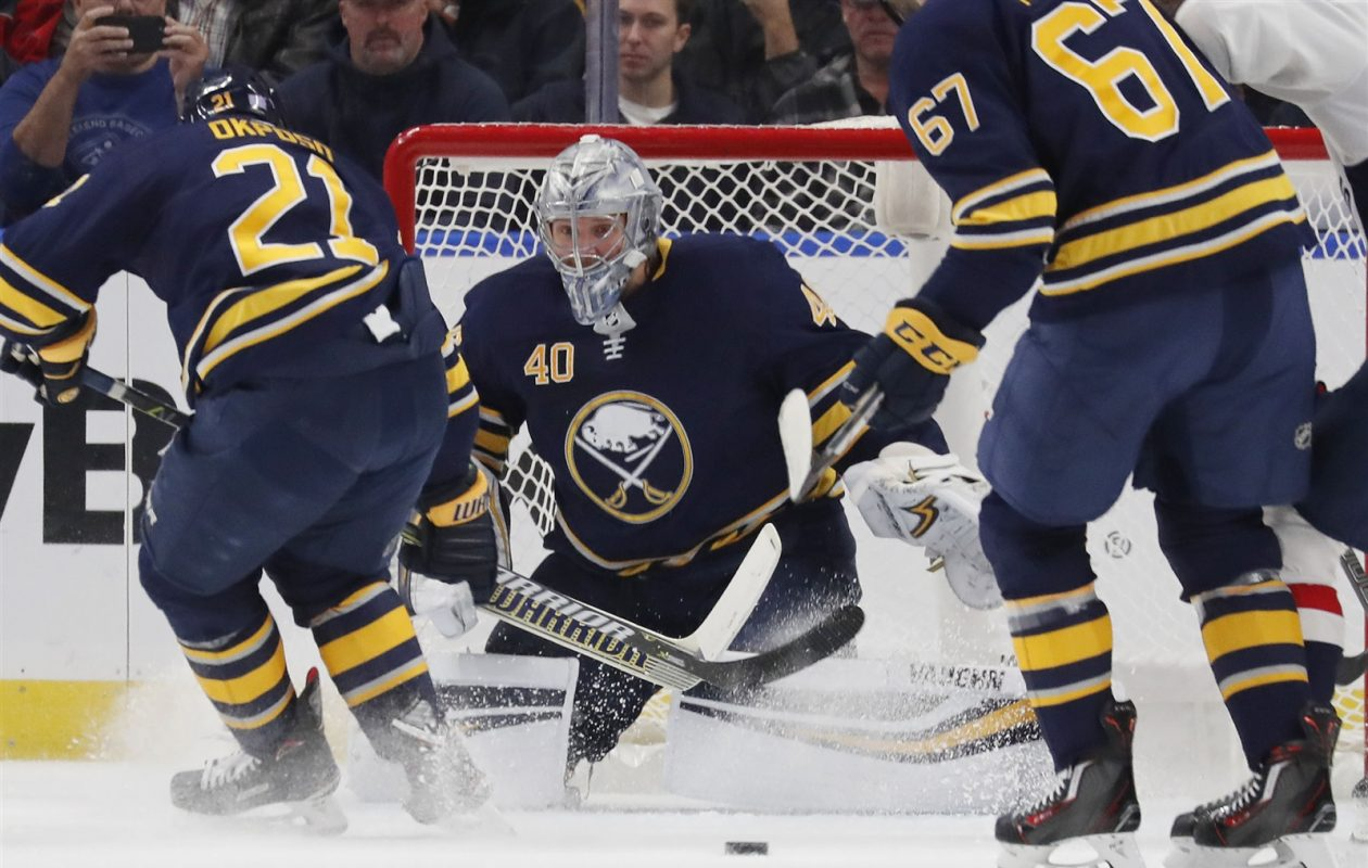 Goaltender Robin Lehner is 5-2-0 all-time against Columbus. (Mark Mulville/Buffalo News)