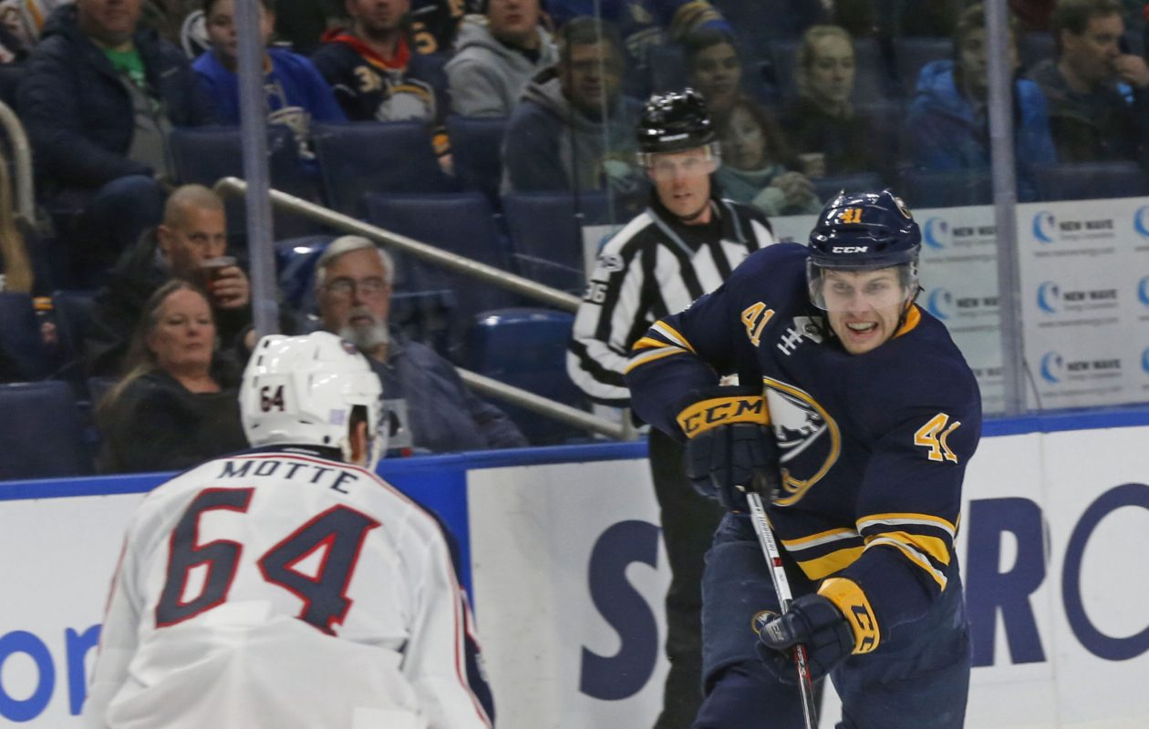 Justin Falk and the Sabres had their road to victory blocked by Tyler Motte and Columbus on Monday. (Robert Kirkham/Buffalo News)