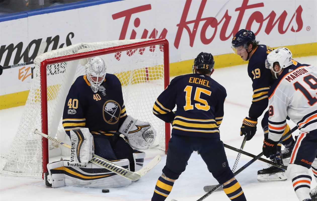 The NHL will go behind the scenes with goaltender Robin Lehner, center Jack Eichel and defenseman Jake McCabe on 'Road to the Winter Classic.' (Sharon Cantillon/Buffalo News)