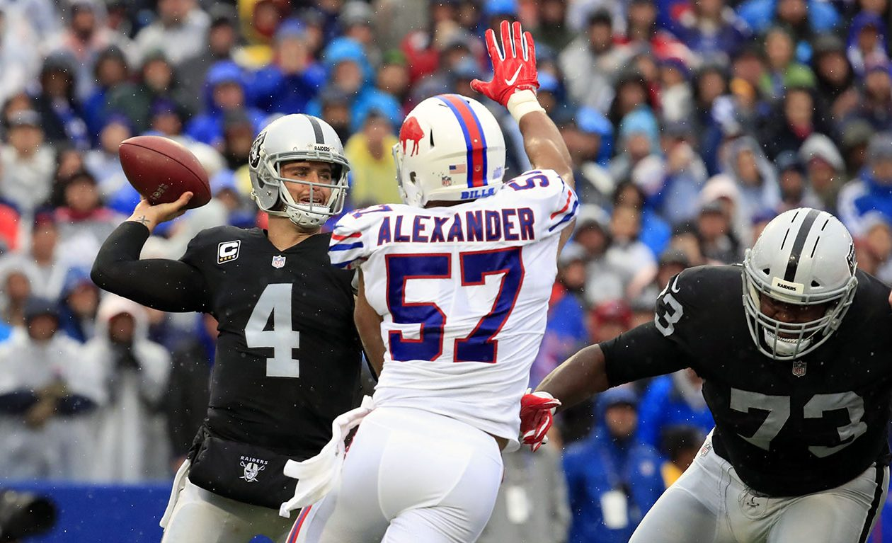 Buffalo Bills Lorenzo Alexander disrupts Oakland Raiders quarterback Derek Carr during the second quarter at New Era Field in Orchard Park on Sunday, Oct. 29, 2017.  (Harry Scull Jr./ Buffalo News)