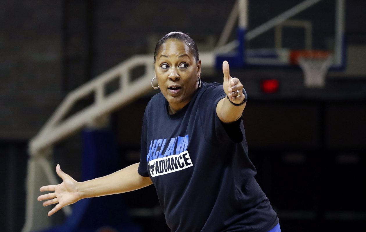 UB and coach Felisha Legette-Jack, shown during a preseason practice at Alumni Arena, have high expectations this year.  (Mark Mulville/Buffalo News)