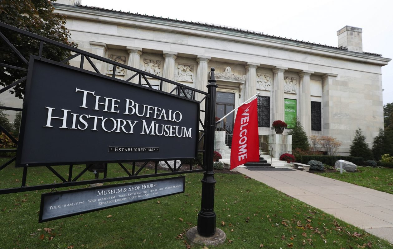 The Buffalo History Museum buidling at 25 Nottingham Court in Delaware Park was erected in 1901 for the Pan American Exposition.  The museum began in 1862 and is the largest regional history museum serving over 150 years. 45,000 visit annually.  The have 100,000 artifacts, 2,000 manuscripts, 20,000 books and 200,000 photographs chronicling the history of Western New York.  Photo taken, Wednesday, Nov. 1, 2017.  This is the front entrance. (Sharon Cantillon/Buffalo News)