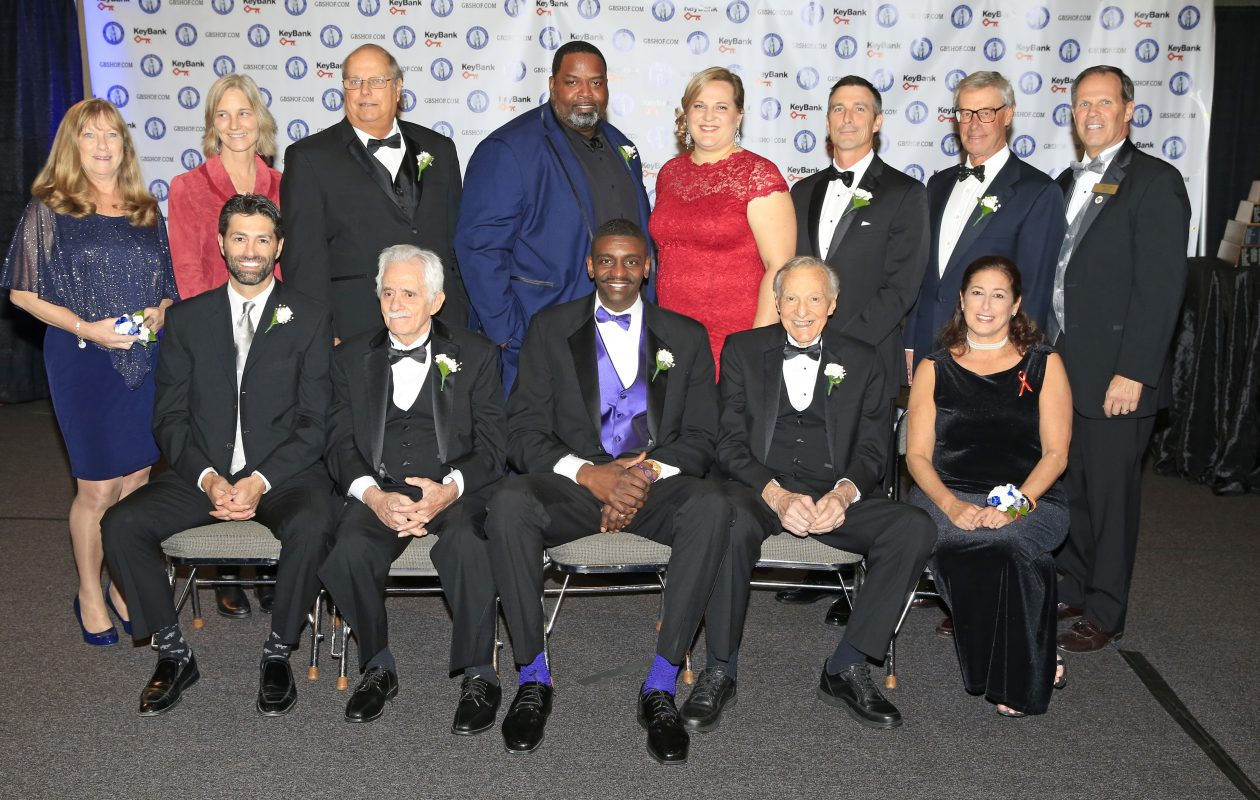 Greater Buffalo Sports Hall of Fame 2017 inductees: Front row, left to right: Michael Peca, Danny DiLiberto, Willie Hutch Jones, Charlie O'Brien, Jodi Hollander (sister of Sandy). Back row, left to right: Terry McGuire (wife of E.J.), Leslie McCormack-Tate (great-granddaughter to Charles Daniels), Dwain Ozark,(son of Dan), Vaughn Parker, Stacey Schroeder-Watt, Tom Terhaar, Mike Keiser and President Tom Koller at the Buffalo Convention Center on Wednesday, Nov. 1, 2017. (Harry Scull Jr./ Buffalo News)