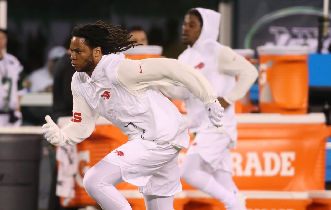 New Bills wide receiver Kelvin Benjamin participates in warmups Nov. 2, 2017,  before the game against the Jets. He was inactive for the game. (James P. McCoy/Buffalo News)