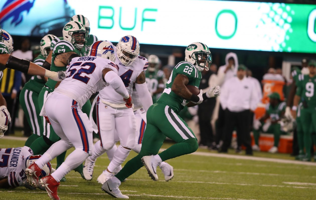 Preston Brown (52) chases Jets running back Matt Forte. (James P. McCoy/Buffalo News)