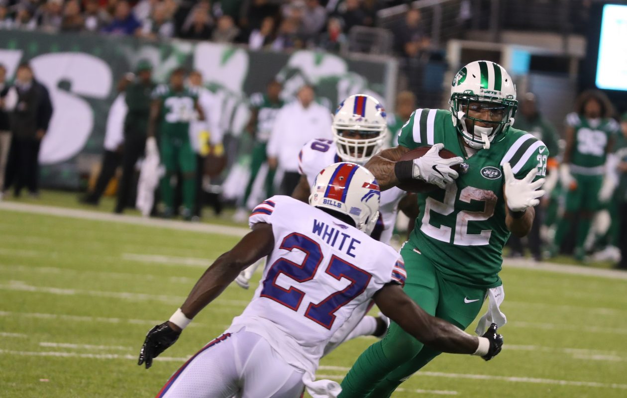 Bills cornerback Tre'Davious White fails to make the tackle against Jets running back Matt Forte during the second half Thursday night. (James P. McCoy/Buffalo News)