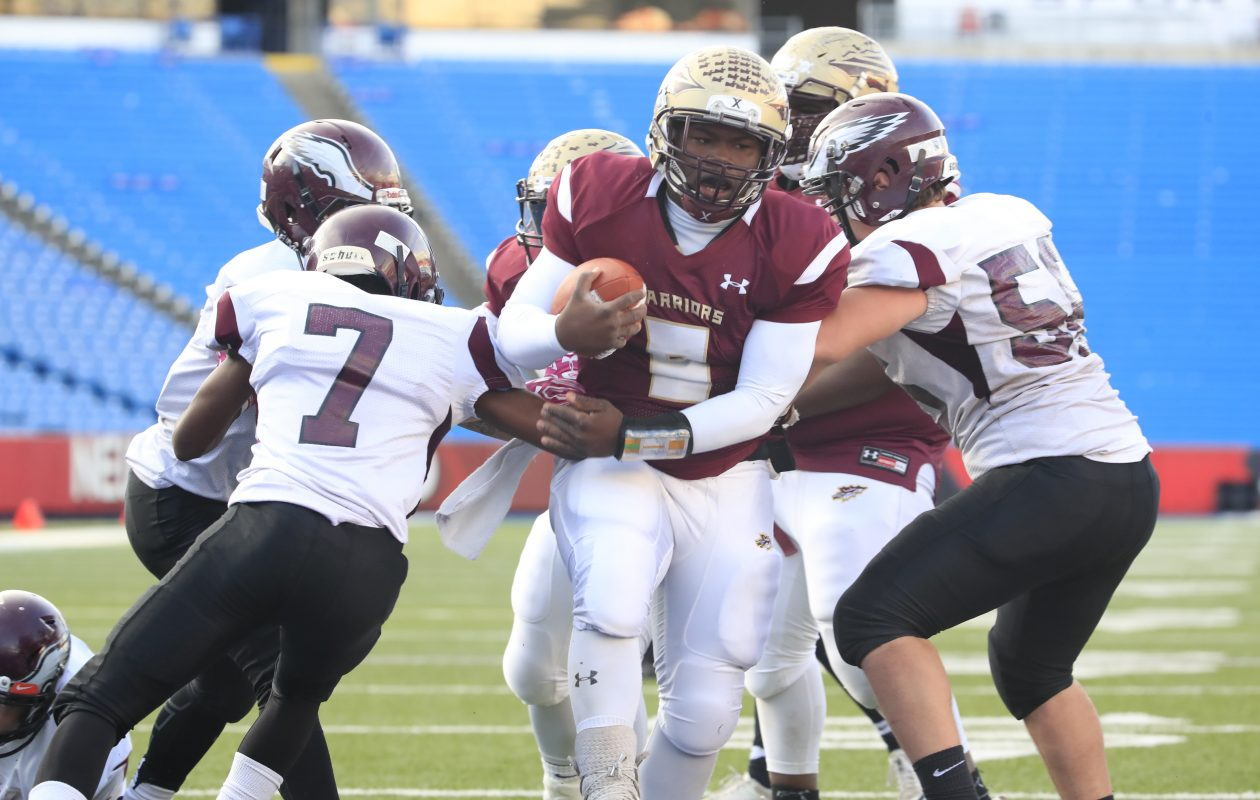 Cheektowaga quarterback KeShone Beal scores against Maryvale during the second half of the Section VI Class B Championship. (Harry Scull Jr./ Buffalo News)