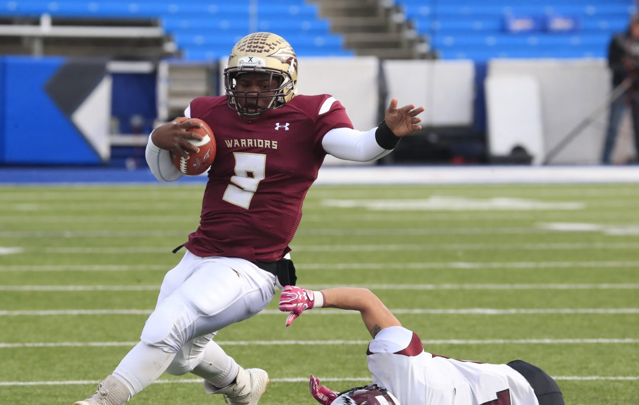 Cheektowaga quarterback KeShone Beal ran for three touchdowns in the Section VI final against Maryvale.  (Harry Scull Jr./ Buffalo News)