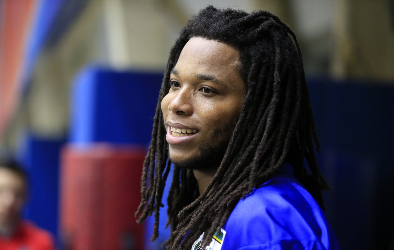 Bills receiver Kelvin Benjamin speaks to the media after practice Monday. (Harry Scull Jr./Buffalo News)