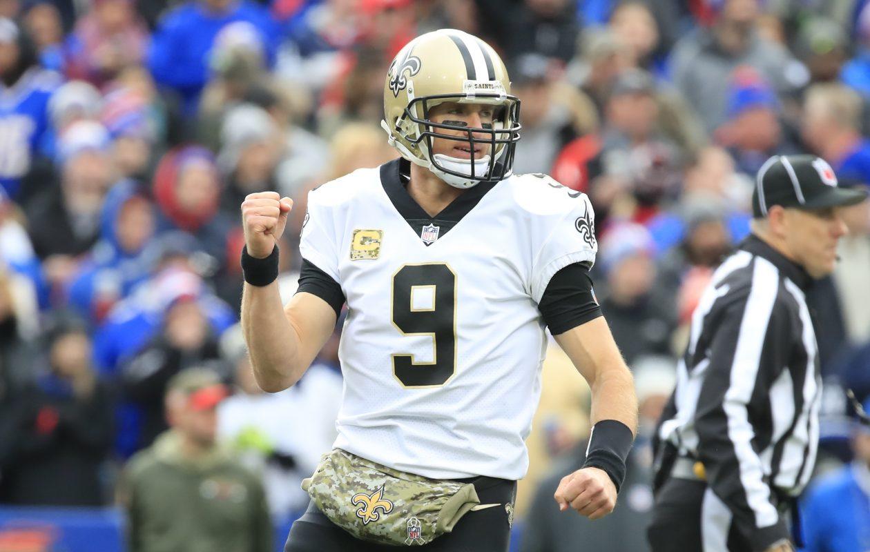 New Orleans Saints quarterback Drew Brees celebrates a first quarter touchdown. (Harry Scull Jr./Buffalo News)