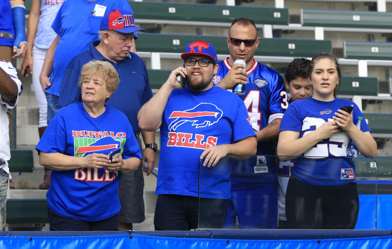 Buffalo Bills fans watch pregame prior to playing the Los Angeles Chargers at the StubHub Center on Sunday, Nov. 19, 2017. (Harry Scull Jr./Buffalo News)