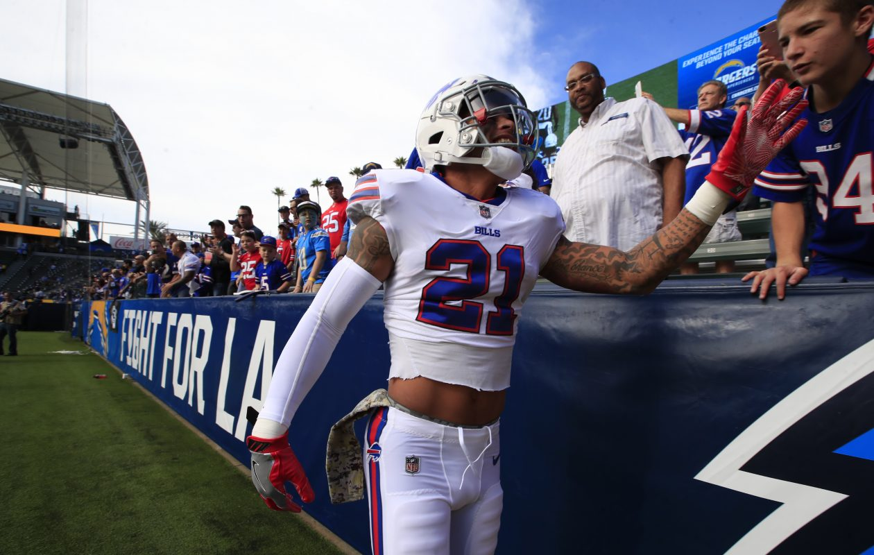 Buffalo Bills free safety Jordan Poyer greets fans in pregame prior to playing the Los Angeles Chargers at the StubHub Center on Sunday, Nov. 19, 2017. (Harry Scull Jr./Buffalo News)