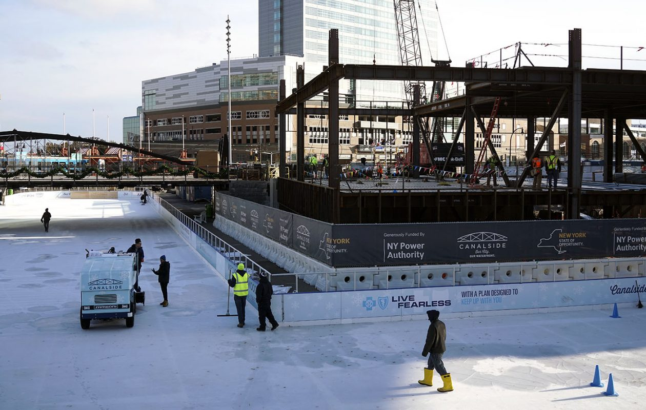 Public skating at The Ice at Canalside will end for the season on Sunday. The sheet of ice near the Buffalo waterfront will be open during its regular hours from Wednesday through the weekend. (Derek Gee/Buffalo News)