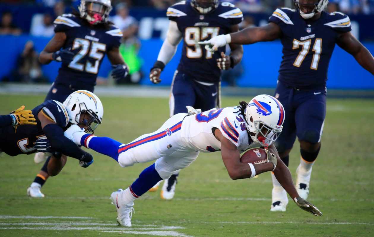 Buffalo Bills Travaris Cadet fights for yardage against the Los Angeles Chargers during fourth quarter action at the StubHub Center on Sunday, Nov. 19, 2017. (Harry Scull Jr./ Buffalo News)