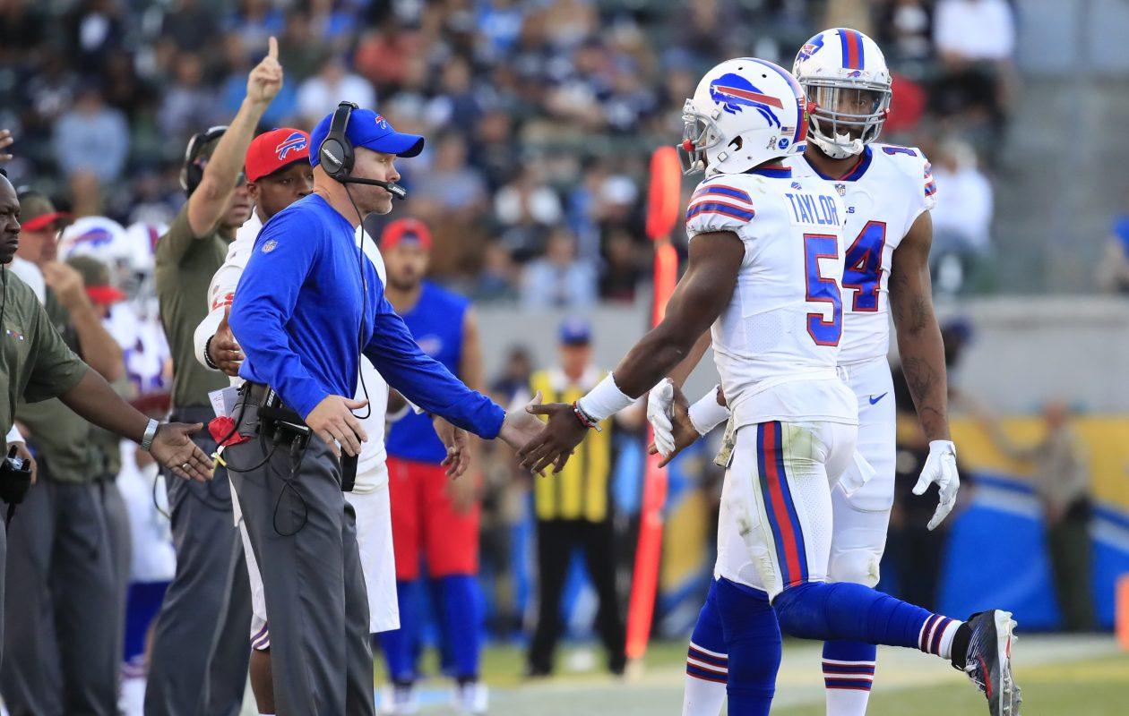 Bills coach Sean McDermott is returning Tyrod Taylor to starting quarterback this week.(Harry Scull Jr./ Buffalo News)