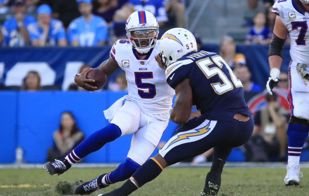 Buffalo Bills Tyrod Taylor runs against the Los Angeles Chargers during third quarter action at the StubHub Center on Sunday, Nov. 19, 2017. (Harry Scull Jr./ Buffalo News)