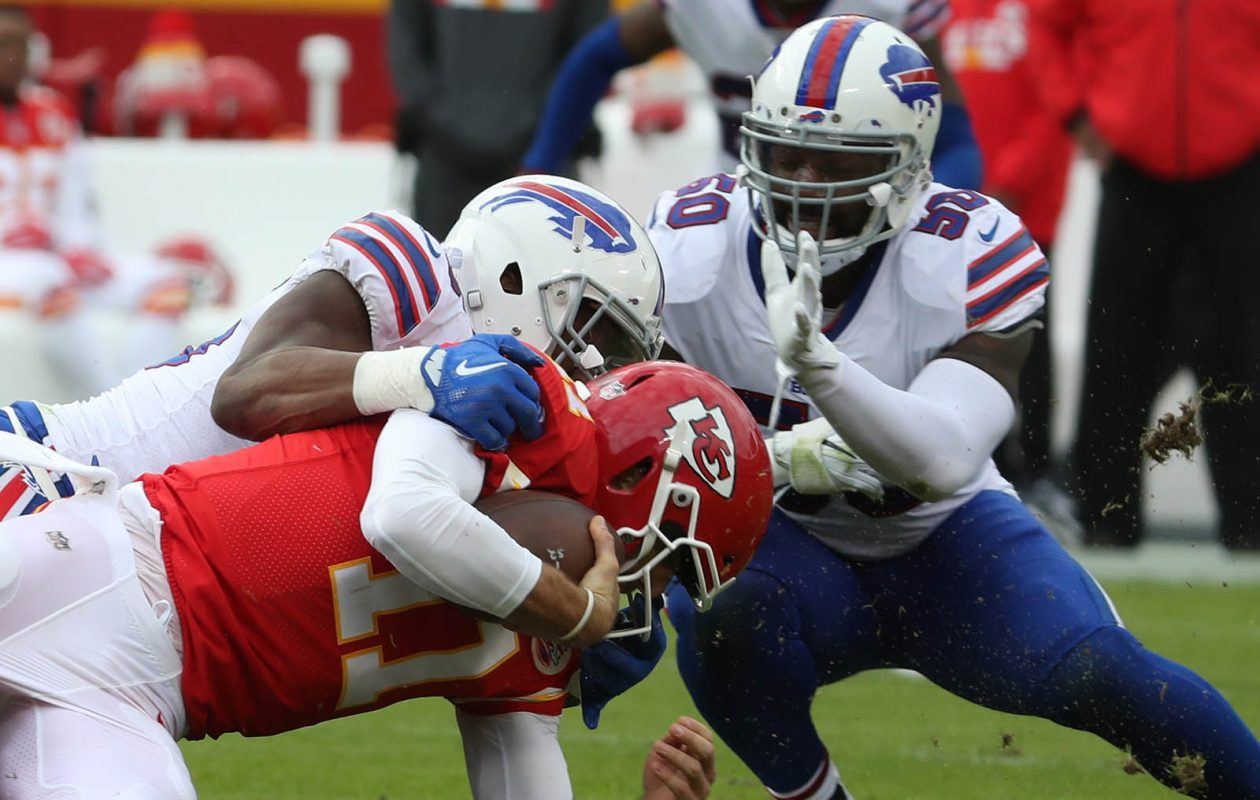 Bills defensive end Jerry Hughes sacks Kansas City quarterback Alex Smith in the second quarter of the Nov. 26 game at Arrowhead Stadium in Kansas City, Mo. (James P. McCoy/Buffalo News)