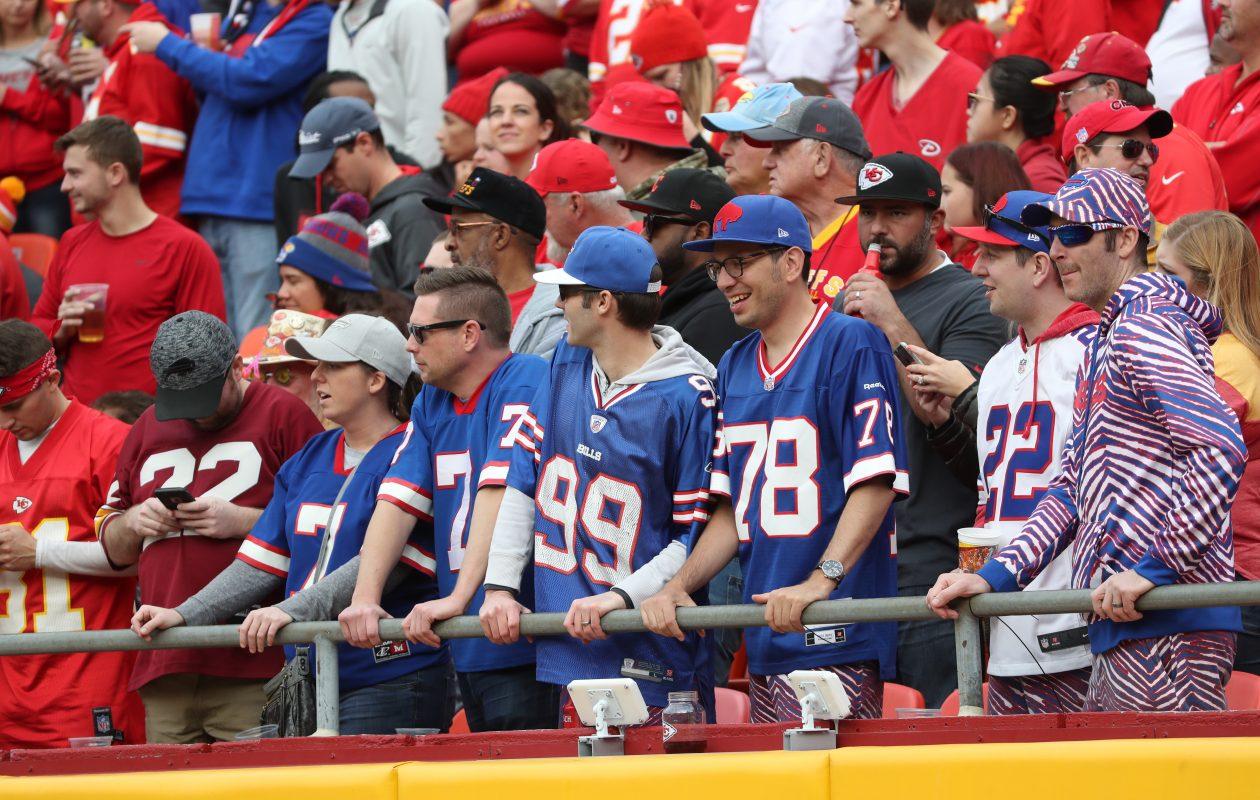 Buffalo Bills fans enjoy the beautiful day at Arrowhead Stadium in Kansas City, Mo., on Sunday, Nov. 26, 2017.  (James P. McCoy/Buffalo News)