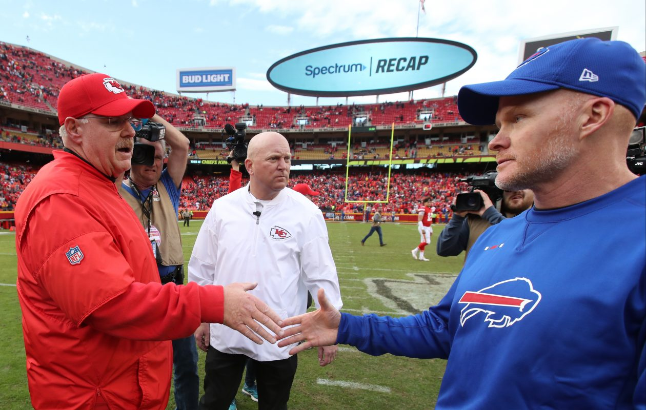 Buffalo Bills head coach Sean McDermott and Kansas City Chiefs head coach Andy Reid shake hands at the end of the game. (James P. McCoy / Buffalo News)