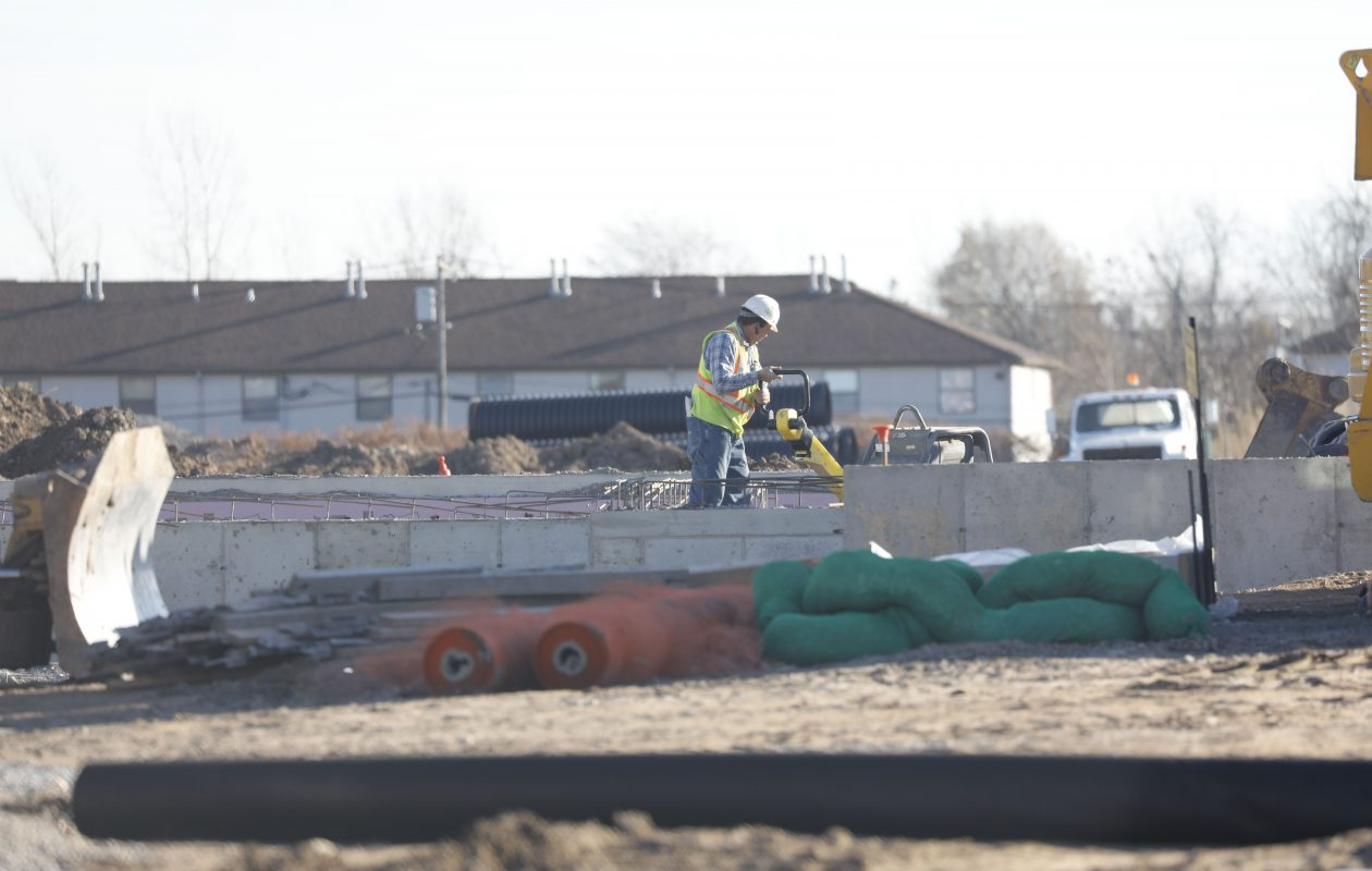 Work is underway on the new residential Highland Park development at the former Central Park Plaza.  (Derek Gee/Buffalo News)