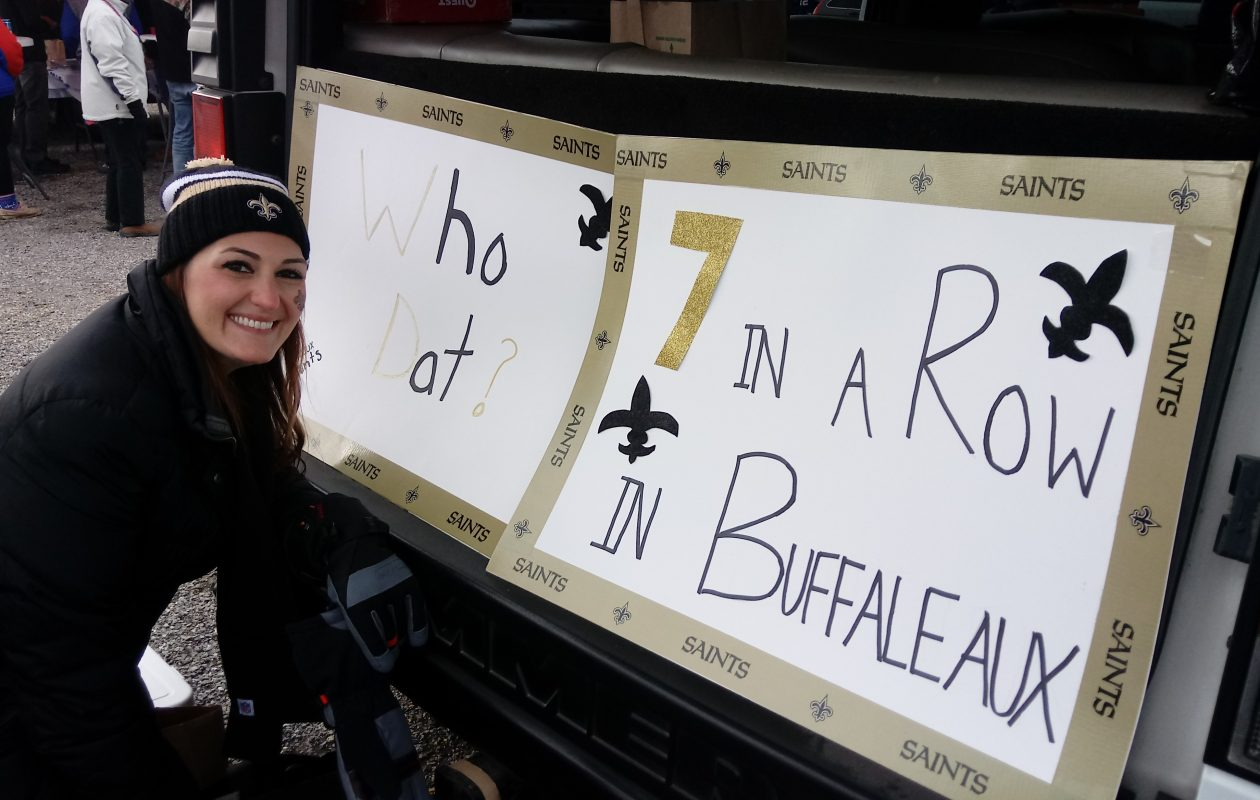 Heather Rizzo, a New Orleans native who now lives in Amherst, still supports the Saints in Bills country. (Luke Hammill/Special to The News)