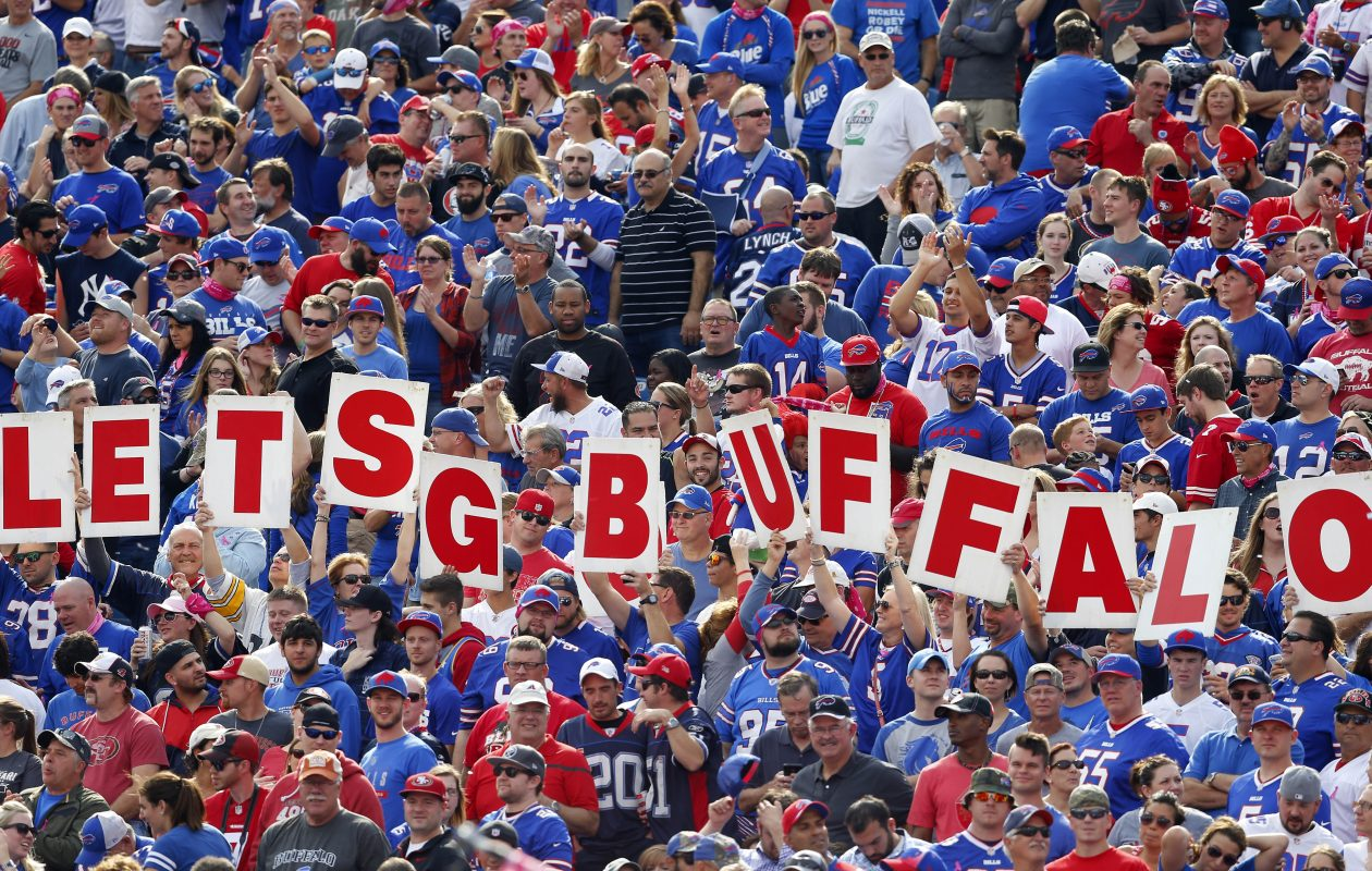 Fans headed to Sundays game should be aware the forecast calls for temperatures in the 40s and a chance of precipitation.  (Mark Mulville/Buffalo News file photo)