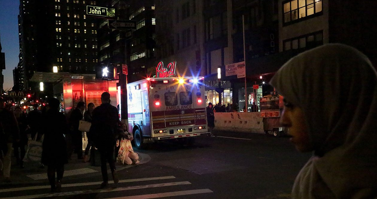 Ambulance lights are seen near the Fulton Street Subway Station after a man driving a rental truck struck and killed eight people in Lower Manhattan on Oct. 31. (Yana Paskova/Getty Images)