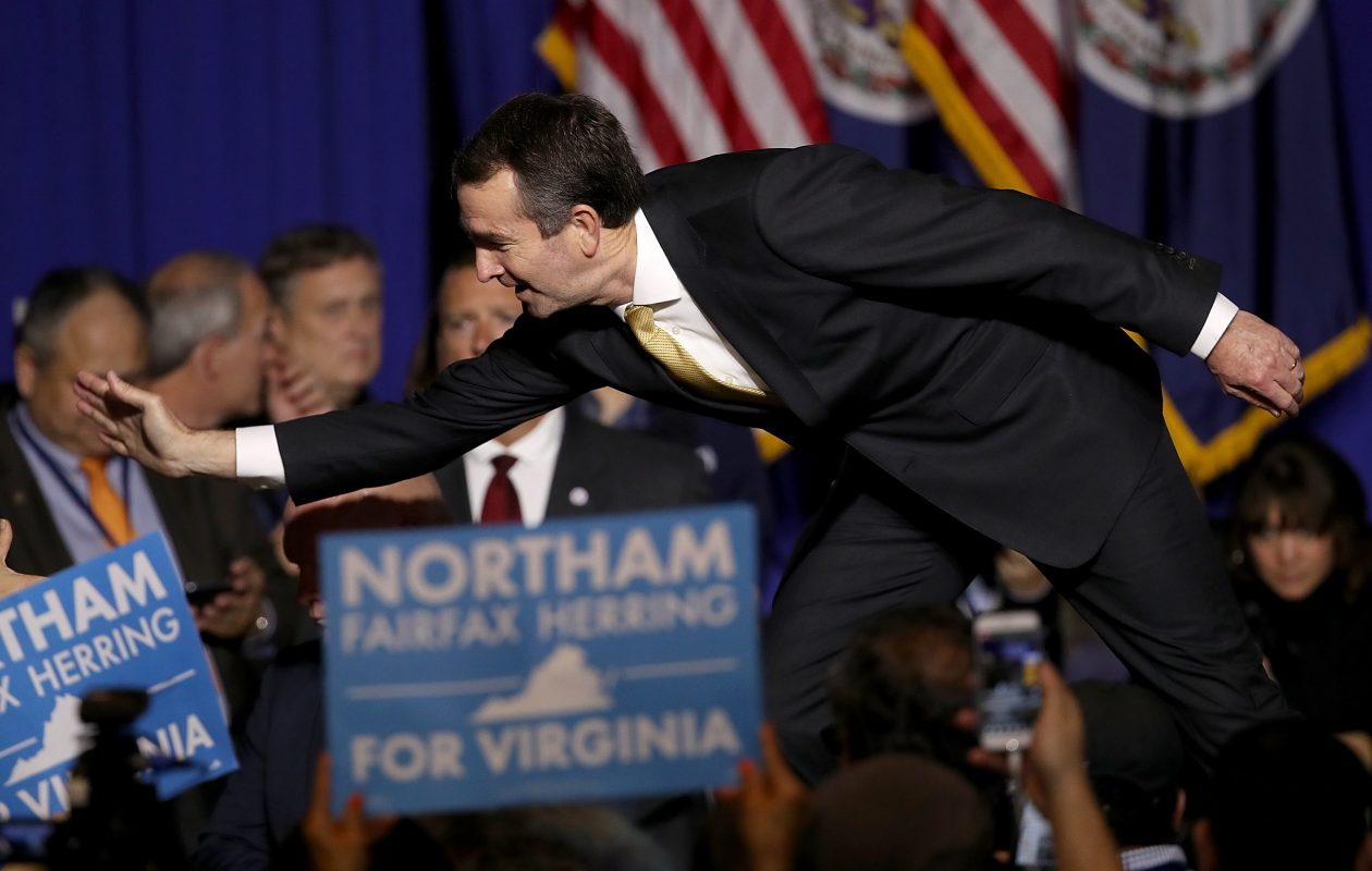 Ralph Northam, the Democratic candidate for governor of Virginia, greets supporters at an election night rally November 7, 2017 in Fairfax, Virginia. Northam defeated Republican candidate Ed Gillespie.  (Getty Images)