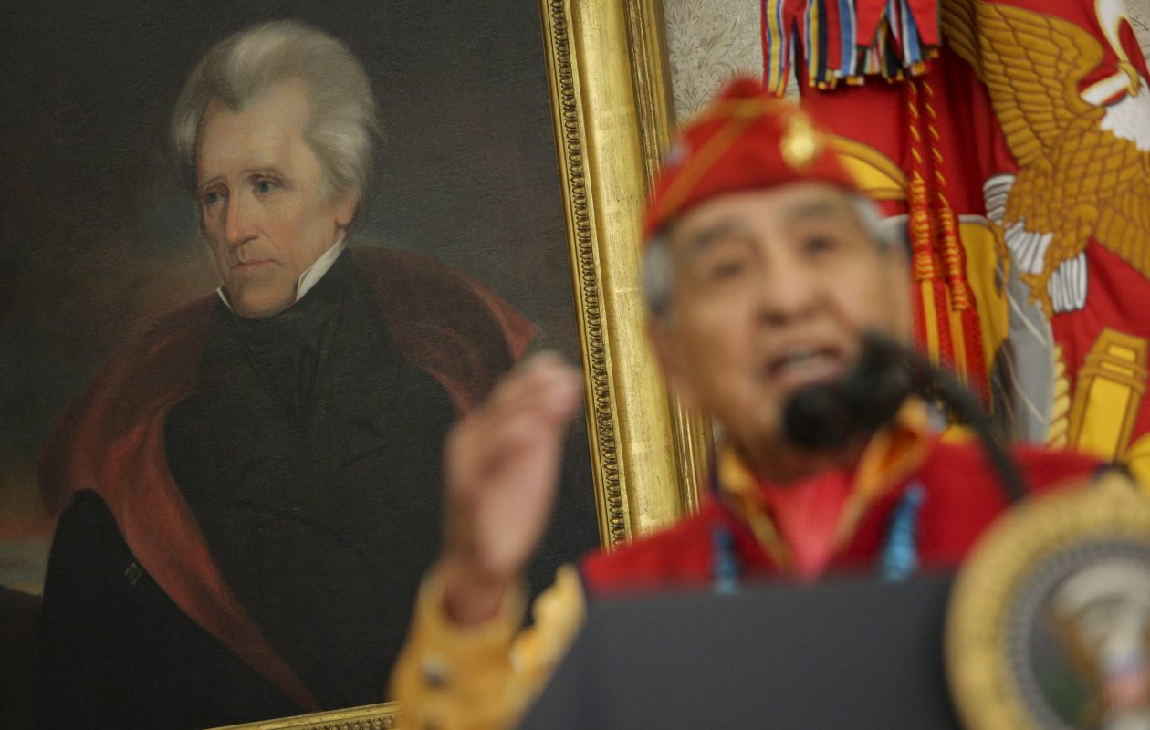 A portrait of former President Andrew Jackson as Navajo code talker, Peter MacDonald speaks during an event hosted by President Donald Trump, honoring the Native American code talkers in the Oval Office of the White House Monday in Washington, DC. Trump stated, 'You were here long before any of us were here. Although we have a representative in Congress who they say was here a long time ago. They call her Pocahontas.' in reference to his nickname for Sen. Elizabeth Warren. (Getty Images)