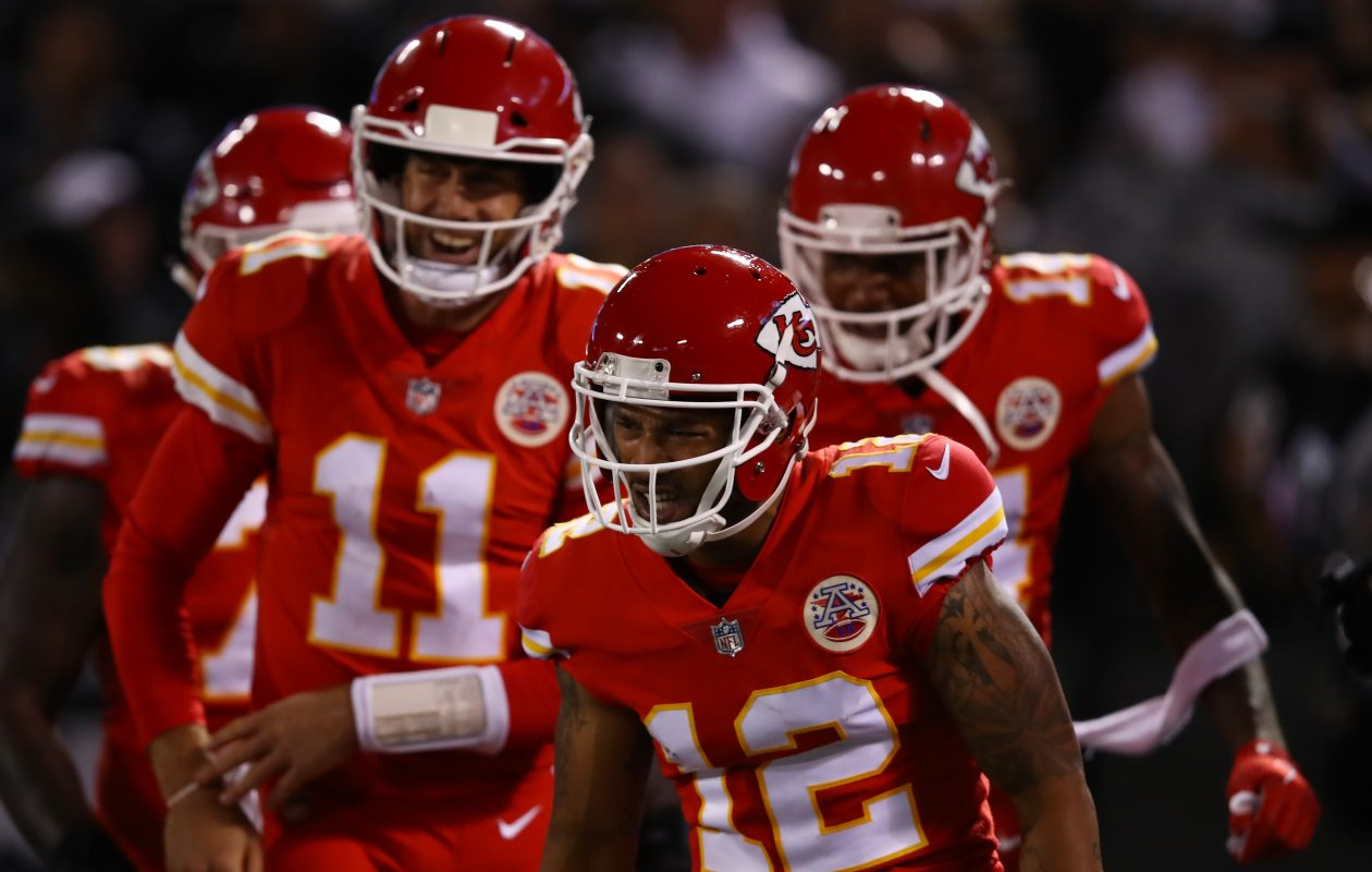 Albert Wilson #12 of the Kansas City Chiefs celebrates after a 63-yard touchdown catch against the Oakland Raiders during their NFL game at Oakland-Alameda County Coliseum on October 19, 2017, in Oakland, California.  (Getty Images)