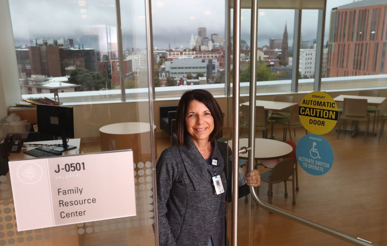 """""""No one is at their best when their anxiety level is up. It's our job as staff to meet the parent or the family at that level and try to lessen that anxiety,"""" says Ann Maghran, care coordinator of the Moore for Kids Family Resource Center and Family Centered Care coordinator at the new John R. Oishei Children's Hospital.   (Sharon Cantillon/Buffalo News)"""